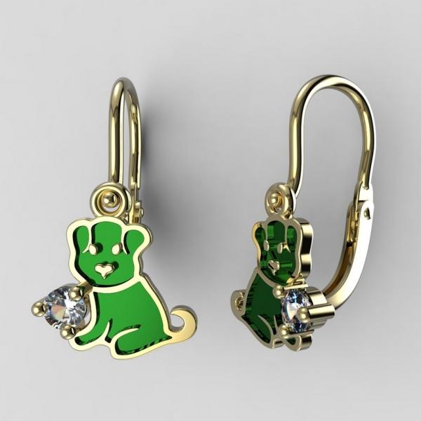 07c6323c0 Dětské zlaté náušnice BeKid štěně BR (1281) , Barva náušnic Zelená ...