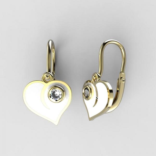 443432118 Dětské zlaté náušnice BeKid srdce BR (1283), Barva náušnic Bílá ...